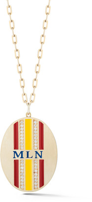 Garland Collection 14K Yellow Gold, Enamel and Diamond Monogram Medall