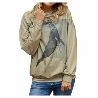 Jiegorge Women's Blouse Women Plus Size Long Sleeve 3D Animal Printed O-Neck Tops Tee T-Shirt Blouse