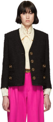 Gucci Black Tweed GG Blazer