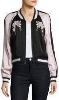 Joie Juanita Floral-Embroidered Bomber Jacket, Black/Pink