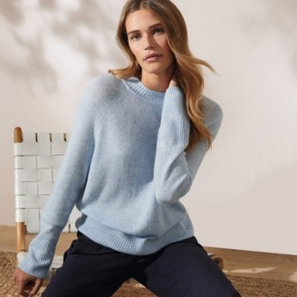 The White Company Rib Detail Jumper with Cashmere, Sky Blue, Extra Small