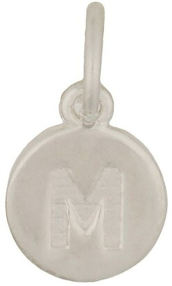 Mocha Round Plate Letter Sterling Silver Charm - M