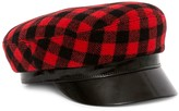 Avec La Troupe Leather-Accented Buffalo Plaid Majorette Hat