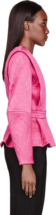 Balmain Fuchsia Embossed Structured Blazer