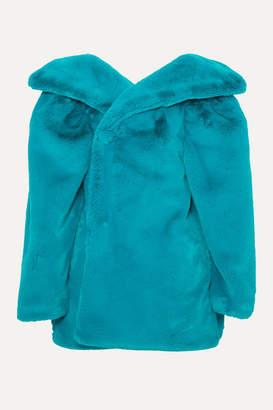 Balenciaga Oversized Faux Fur Jacket - Petrol