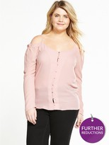 Alice & You Cold Shoulder Button Up Blouse - Pink
