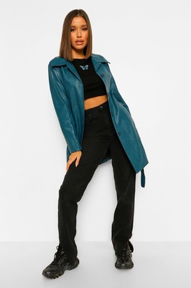 boohoo Belted Faux Leather Jacket