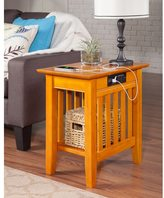 Atlantic Mission Caramel Latte Side Table with Charger