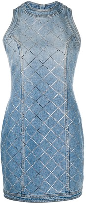 Balmain Rhinestone-Embellished Fitted Denim Dress