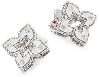 Roberto Coin Petite Venetian 18K White Gold & Diamond Stud Earrings