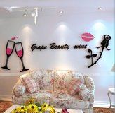 Baron W.H Red lips glass three-dimensional wall paste romantic rose creative acrylic wall stickers bedroom living room sofa background wall stickers, B, 260x90cm