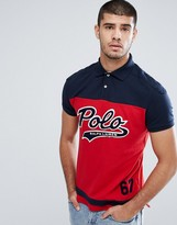 Polo Ralph Lauren Custom Slim Fit Pique Polo With Large Baseball Logo In Red