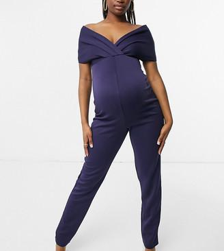 Blume Maternity fallen shoulder jersey jumpsuit in navy