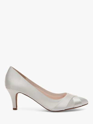 Rainbow Club Wide Fit Lexi Satin Toe Point Court Shoes, Ivory