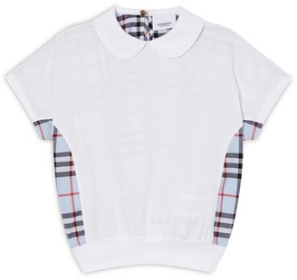 Burberry Kids Check Trim Collar T-Shirt (3-12 Years)