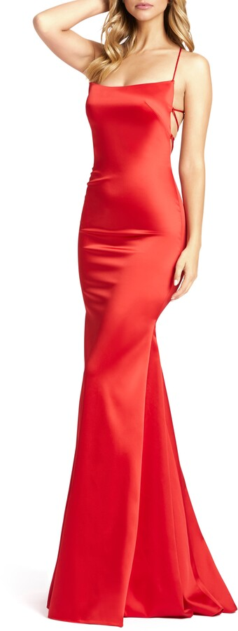 Mac Duggal Strappy Satin Column Gown
