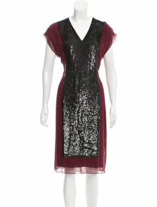 Jonathan Saunders Sequin-Paneled Silk Dress