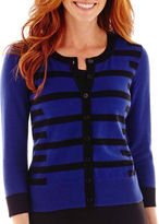 Liz Claiborne 3/4-Sleeve Geo-Striped Cardigan Sweater