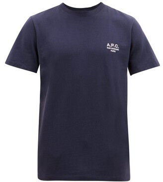A.P.C. Raymond Logo-embroidered Cotton T-shirt - Mens - Navy