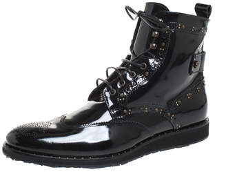 Roberto Cavalli Black Brogue Leather Studded Lace Up Ankle Boots Size 43