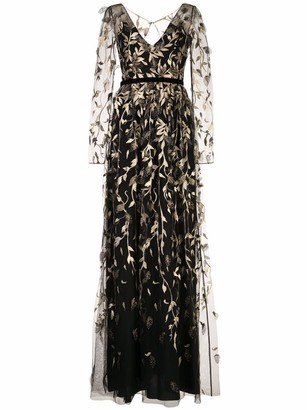 Marchesa Notte Metallic Leaf Embroidered Gown