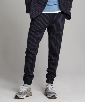 Todd Snyder Knit Traveler Suit Trouser in Navy Pinstripe