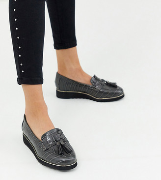 Simply Be extra wide fit loafer in gray croc