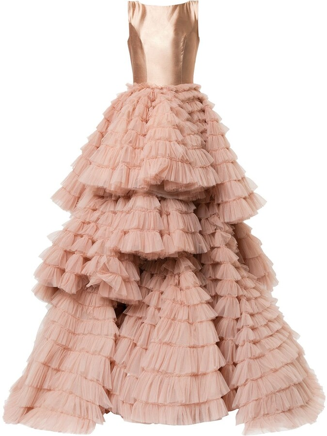 Isabel Sanchis Frill-Layered Flared Gown