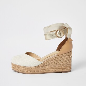 River Island Womens Brown lace-up ankle espadrille wedge sandals