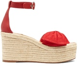 Valentino Tropical Bow suede espadrille wedge sandals