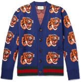 Gucci Tiger-Jacquard Wool Cardigan