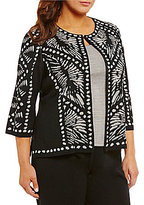 Ming Wang Plus Jewel Neck 3/4 Sleeve Patterned Jacket