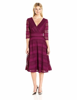 Sangria Women's 3/4 Sleeve V-Neck Textured Lace Fit and Flare Dress
