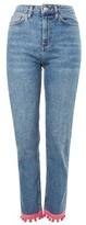 Topshop MOTO Pom Pom Hem Straight Leg Jeans