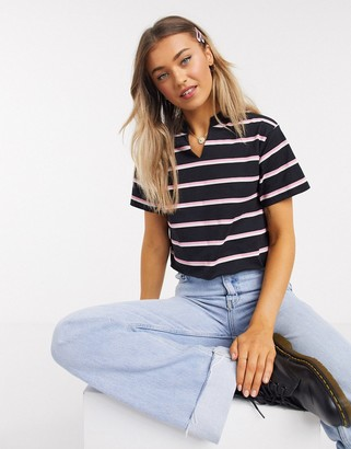 ASOS DESIGN boxy t-shirt with notch neck in black with pink stripe