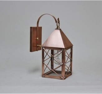 Aron Traditional Outdoor Wall Lantern Alcott Hill Fixture Finish: Verde Green, Shade Finish: Drawn Antique Glass