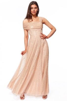 Goddiva One Shoulder Bardot Sequin & Mesh Maxi Dress - Champagne