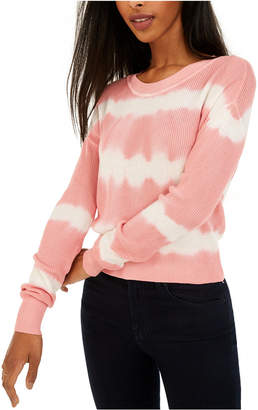 Crave Fame Juniors' Tie-Dyed Crew-Neck Sweater
