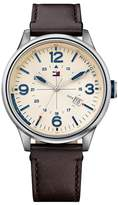Tommy Hilfiger Men's Peter Leather Watch, 46mm