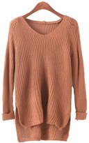 Cuteclub Cute Club Women's Knit Sweater V Tie Neck Cropped Side Slits Loose Pullover