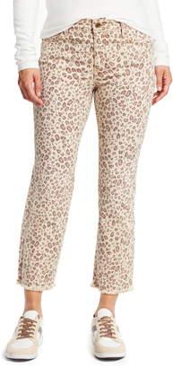 High Waist Connector Leopard Kick Flare Crop Jeans