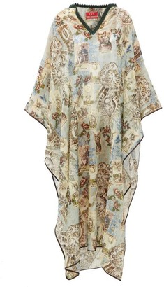 F.R.S For Restless Sleepers F.R.S – For Restless Sleepers Gigi Tarot-printed Cotton-blend Kaftan - Womens - Light Blue