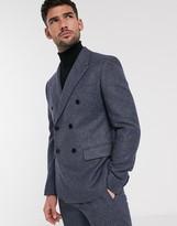 Asos DESIGN slim double breasted suit jacket in wool mix in blue tweed