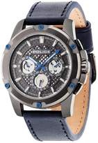 Police Grid Grey Plate Multi Dial Blue Leather Strap Mens Watch