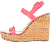 Kate Spade Wicker & Leather Wedge Sandals
