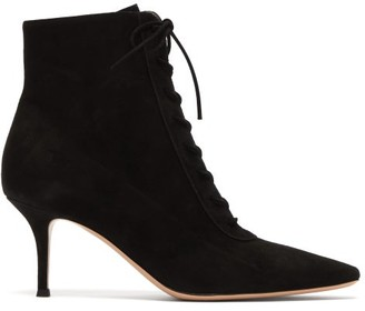 Gianvito Rossi Lace-up 70 Suede Ankle Boots - Black