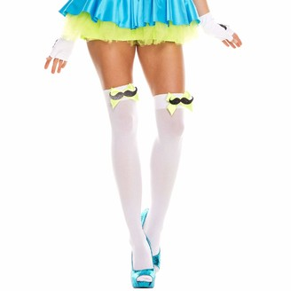Music Legs Women's Mustache and Bow Thigh Hi Tights