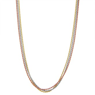 Women's 14k Tri-Tone 14k Gold Rope Chain Necklace