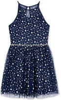BCX Star-Print Fit and Flare Dress, Big Girls (7-16)