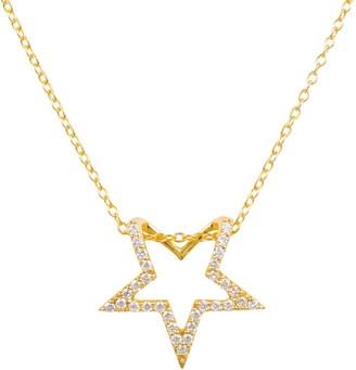 Latelita Diamond Open Star Pendant Necklace Gold